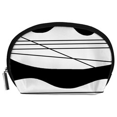 White and black waves Accessory Pouches (Large)