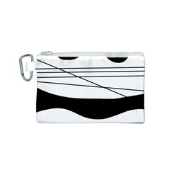 White and black waves Canvas Cosmetic Bag (S)