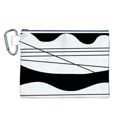 White and black waves Canvas Cosmetic Bag (L)