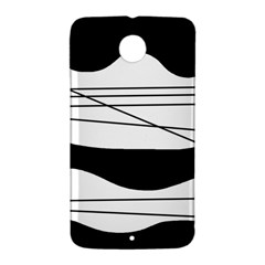 White and black waves Nexus 6 Case (White)