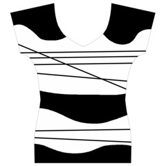 White and black waves Women s V-Neck Cap Sleeve Top
