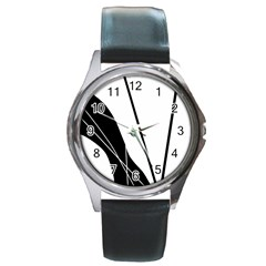 White and Black  Round Metal Watch