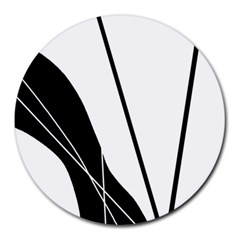 White and Black  Round Mousepads