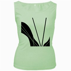 White and Black  Women s Green Tank Top