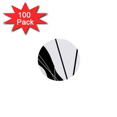 White and Black  1  Mini Buttons (100 pack)