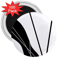 White and Black  3  Magnets (100 pack)