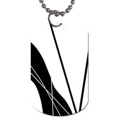 White and Black  Dog Tag (One Side)