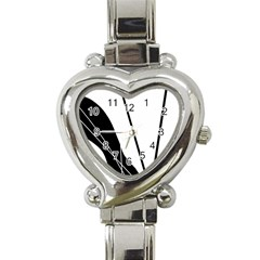 White and Black  Heart Italian Charm Watch