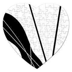 White and Black  Jigsaw Puzzle (Heart)