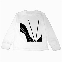 White and Black  Kids Long Sleeve T-Shirts