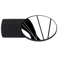 White and Black  USB Flash Drive Oval (4 GB)