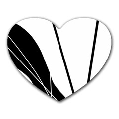White and Black  Heart Mousepads