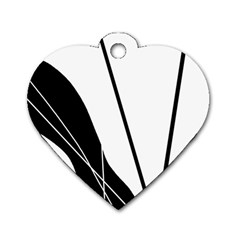 White and Black  Dog Tag Heart (Two Sides)