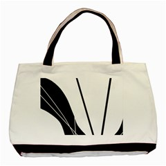 White and Black  Basic Tote Bag (Two Sides)