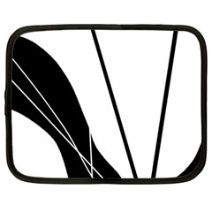 White and Black  Netbook Case (Large)