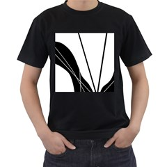 White and Black  Men s T-Shirt (Black)