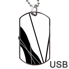 White and Black  Dog Tag USB Flash (Two Sides)