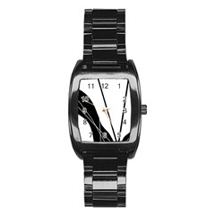 White and Black  Stainless Steel Barrel Watch