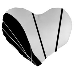 White and Black  Large 19  Premium Flano Heart Shape Cushions