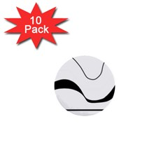Waves - black and white 1  Mini Buttons (10 pack)