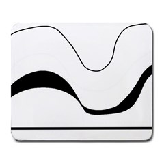 Waves - black and white Large Mousepads