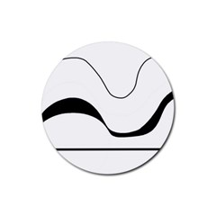Waves - black and white Rubber Round Coaster (4 pack)