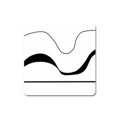 Waves - black and white Square Magnet