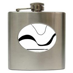 Waves - black and white Hip Flask (6 oz)