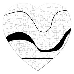 Waves - black and white Jigsaw Puzzle (Heart)