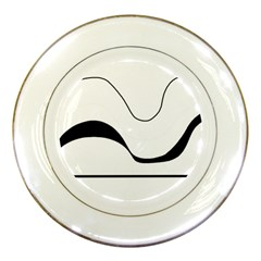 Waves - black and white Porcelain Plates