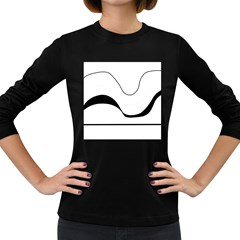 Waves - black and white Women s Long Sleeve Dark T-Shirts
