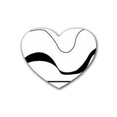 Waves - black and white Heart Coaster (4 pack)