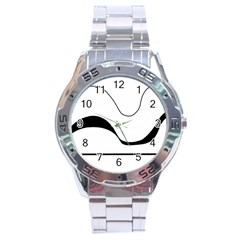Waves - black and white Stainless Steel Analogue Watch