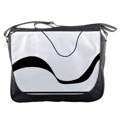 Waves - black and white Messenger Bags