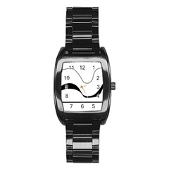 Waves - black and white Stainless Steel Barrel Watch