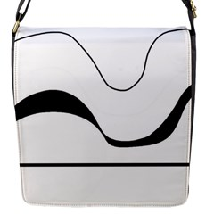 Waves - black and white Flap Messenger Bag (S)