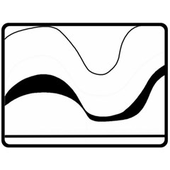 Waves - black and white Double Sided Fleece Blanket (Large)