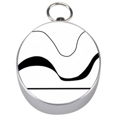 Waves - black and white Silver Compasses
