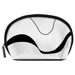 Waves - black and white Accessory Pouches (Large)