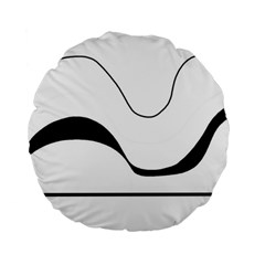 Waves - black and white Standard 15  Premium Flano Round Cushions
