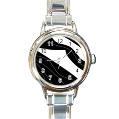 White and black decorative design Round Italian Charm Watch
