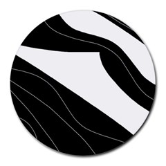 White and black decorative design Round Mousepads