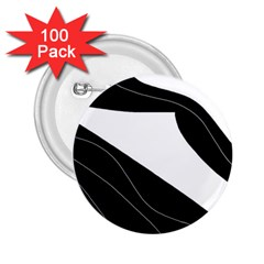 White and black decorative design 2.25  Buttons (100 pack)