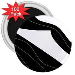 White and black decorative design 3  Magnets (100 pack)