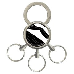 White and black decorative design 3-Ring Key Chains