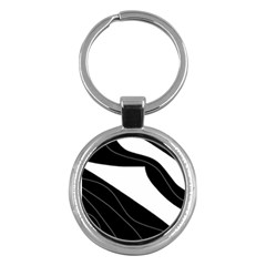 White and black decorative design Key Chains (Round)