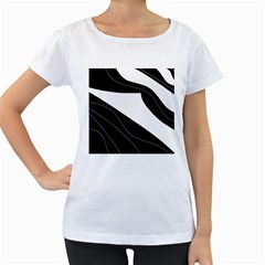 White and black decorative design Women s Loose-Fit T-Shirt (White)