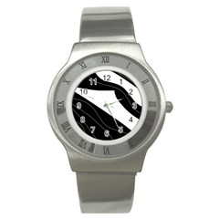 White and black decorative design Stainless Steel Watch
