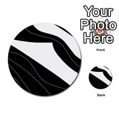 White and black decorative design Multi-purpose Cards (Round)