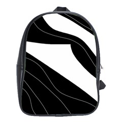 White and black decorative design School Bags(Large)